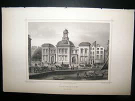 Holland Netherlands C1850's Antique Print. Rotterdam De Beur