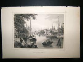 Holland Netherlands C1850's Antique Print. Rotterdam De Leuvehaven