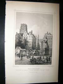 Holland Netherlands C1850's Antique Print. Rotterdam, Erasmus Monument