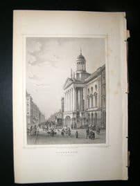 Holland Netherlands C1850's Antique Print. Rotterdam, Het stadhuis