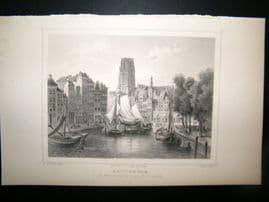 Holland Netherlands C1850's Antique Print. Rotterdam, Korenbeurs