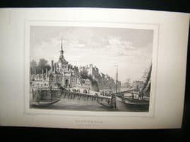 Holland Netherlands C1850's Antique Print. Rotterdam, Oude Hoofd Port