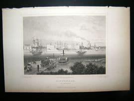 Holland Netherlands C1850's Antique Print. Rotterdam, willemskade