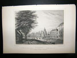 Holland Netherlands C1850's Antique Print. Utrecht, Wittevrouwen port