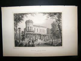 Holland Netherlands C1850's Antique Print. Villa Hoboken, Rotterdam
