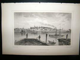 Holland Netherlands C1850's Antique Print. Ysselmonde, Steamer Boat