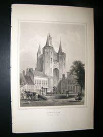 Holland Netherlands C1850's Antique Print. Zwolle, Sassen-Port