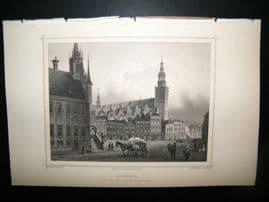 Holland Netherlands C1850s Antique Print. Gouda