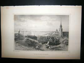 Holland Netherlands C1850s Antique Print. Scheveningen