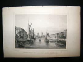 Holland Netherlands C1850s Print. Oud En Nieuw, Mathenesse, Nabij schiedam