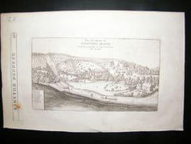 Hollar 1656 Antique Print. Compton House, Warwickshire, UK Etching