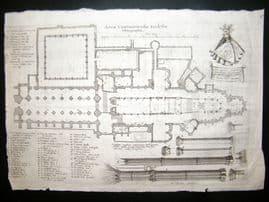 Hollar C1660 Antique Print/Plan. Canterbury Cathedral, Kent. Etching