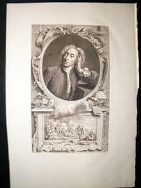 Houbraken C1750 Folio Antique Portrait. Alexander Pope