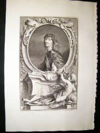 Houbraken C1750 Folio Antique Portrait. Algonon Percy, Earl of Nothumberland
