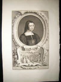 Houbraken C1750 Folio Antique Portrait. Catherine of Arragon, Wife of Henry VIII