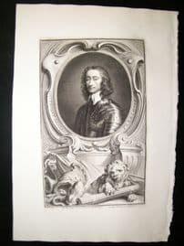 Houbraken C1750 Folio Antique Portrait. Charles Fleetwood, Deputy of Ireland