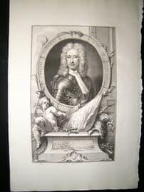 Houbraken C1750 Folio Antique Portrait. Charles Mordaunt, Earl of Peterborough