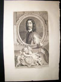 Houbraken C1750 Folio Antique Portrait. Edward Montagu, Earl of Manchester