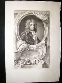 Houbraken C1750 Folio Antique Portrait. Edward Russell, 1st Earl of Orford