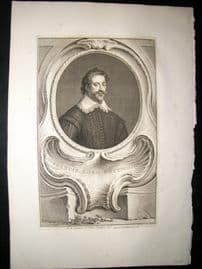 Houbraken C1750 Folio Antique Portrait. Francis Lord Cottington