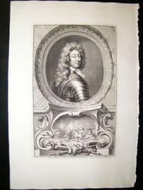 Houbraken C1750 Folio Antique Portrait. Frederick, Duke of Schomberg