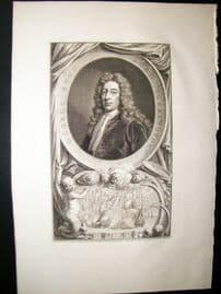 Houbraken C1750 Folio Antique Portrait. George Byng, Viscount Torrington. Naval