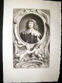 Houbraken C1750 Folio Antique Portrait. George Digby, Earl of Bristol
