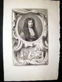 Houbraken C1750 Folio Antique Portrait. George Saville, Marquis of Halifax