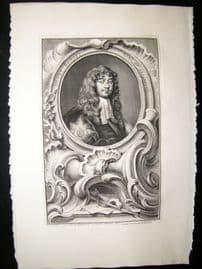 Houbraken C1750 Folio Antique Portrait. Henry Bennet, Earl of Arlington