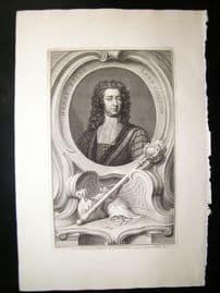 Houbraken C1750 Folio Antique Portrait. Henry Boyle, Lord Carleton