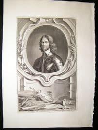 Houbraken C1750 Folio Antique Portrait. Henry Ireton, Deupty of Ireland