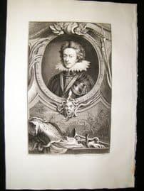 Houbraken C1750 Folio Antique Portrait. Henry, Prince of Wales