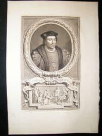Houbraken C1750 Folio Antique Portrait. Henry Stafford, Duke of Buckingham