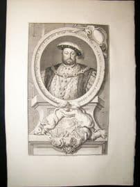 Houbraken C1750 Folio Antique Portrait. Henry VIII