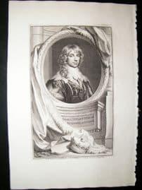 Houbraken C1750 Folio Antique Portrait. James Stuart, Duke of Richmond