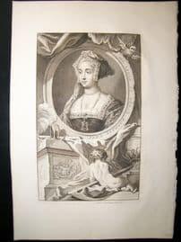 Houbraken C1750 Folio Antique Portrait. Jane Seymour, Wife of Henry VIII