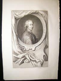 Houbraken C1750 Folio Antique Portrait. John Dryden
