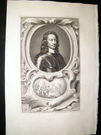 Houbraken C1750 Folio Antique Portrait. John Hamden