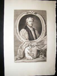 Houbraken C1750 Folio Antique Portrait. John Tillotson, Archbishop of Canterbury