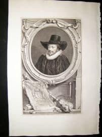 Houbraken C1750 Folio Antique Portrait. John Williams, Archbishop of York