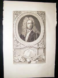 Houbraken C1750 Folio Antique Portrait. Jospeh Addison