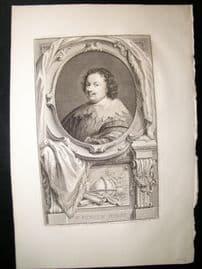 Houbraken C1750 Folio Antique Portrait. Kenelm Digby