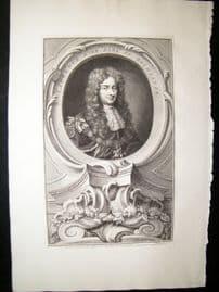 Houbraken C1750 Folio Antique Portrait. Laurence Hyde, Earl of Rochester