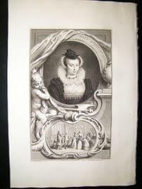 Houbraken C1750 Folio Antique Portrait. Mary Queen of Scots