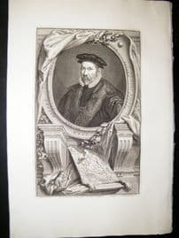 Houbraken C1750 Folio Antique Portrait. Nicholas Bacon, Keeper of the Seal