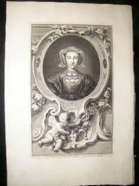Houbraken C1750 Folio Antique Portrait. Queen Anne of Cleves, Wife of Henry VIII