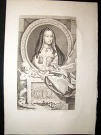 Houbraken C1750 Folio Antique Portrait. Queen Elizabeth, Wife of Henry VII
