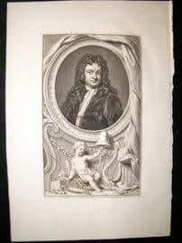 Houbraken C1750 Folio Antique Portrait. Richard Steele, Irish Writer