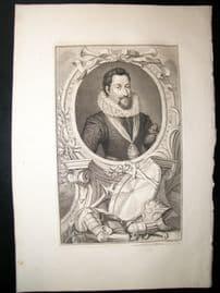 Houbraken C1750 Folio Antique Portrait. Robert Carr, Earl of Somerset
