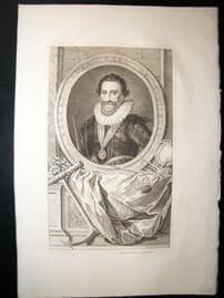 Houbraken C1750 Folio Antique Portrait. Robert Cecil, Earl of Salisbury